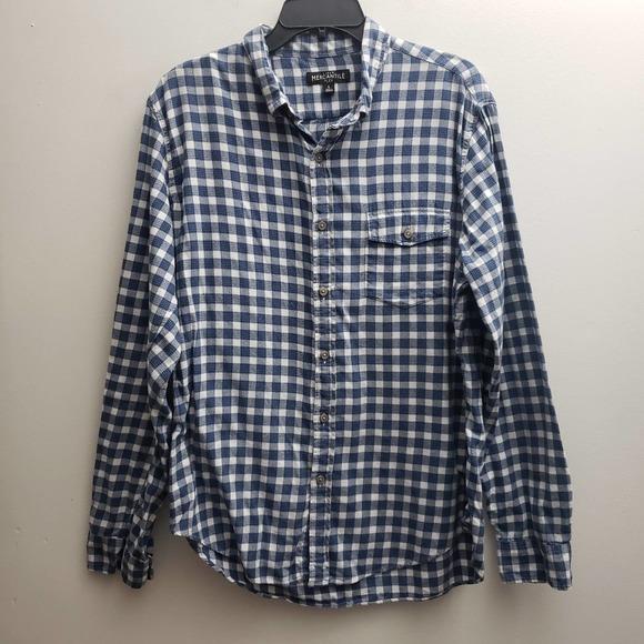 J Crew Mercantile Mens Plaid Flannel Shirt Large Blue White Check Cotton J5395